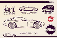 Japan classic sports car, silhouettes Royalty Free Stock Images