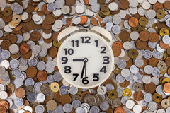 Japan coin and gold money on the desk. Japanese coins arranged against the clock Royalty Free Stock Photos