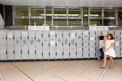 Japan : Coin operated lockers . Royalty Free Stock Photo