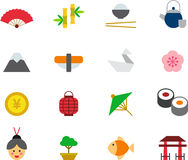 JAPAN colored flat icons Stock Images
