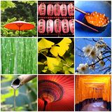 Japan colorful square collage Royalty Free Stock Photography