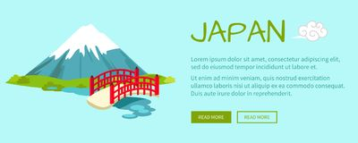 Japan Conceptual Flat Style Vector Web Banner Royalty Free Stock Images