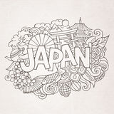 Japan country hand lettering and doodles elements Stock Image