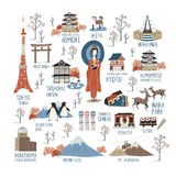 Japan cultural impression collections. With their English name vector illustration