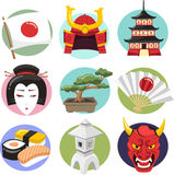 Japan culture cartoon icons Stock Image