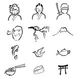 Japan culture drawing icons set. Japan culture drawing doodle icons Stock Photography