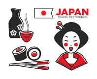 Japan culture, food and travel symbols or famous landmarks vector icons set. Japan culture, food and travel symbols or famous landmarks. Vector icons of Japanese Stock Photography