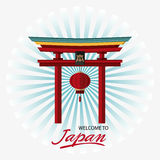 Japan culture and landmark design. Arch and lamp icon. Japan culture landmark and asia theme. Colorful design. Striped background. Vector illustration Royalty Free Stock Photography