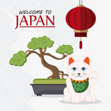 Japan culture and landmark design. Lamp bonsai and cat icon. Japan culture landmark and asia theme. Colorful design. Vector illustration Stock Image