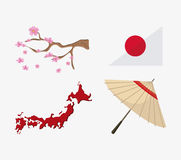 Japan culture and landmark design. Map tree umbrella and flag icon. Japan culture landmark and asia theme. Colorful design. Vector illustration Stock Images