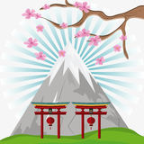 Japan culture and landmark design. Mountain arch with lamps and tree icon. Japan culture landmark and asia theme. Colorful design. Vector illustration Royalty Free Stock Photos