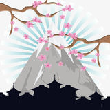 Japan culture and landmark design. Mountain tree and city silhouette icon. Japan culture landmark and asia theme. Colorful design. Vector illustration Stock Photos