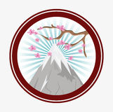 Japan culture and landmark design. Mountain and tree icon. Japan culture landmark and asia theme. Colorful and striped button design. Vector illustration Stock Photos