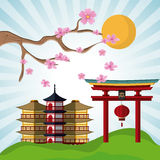 Japan culture and landmark design. Tower building and arch icon. Japan culture landmark and asia theme. Colorful design. Vector illustration Stock Image