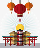Japan culture and landmark design. Tower building arch and lamps icon. Japan culture landmark and asia theme. Colorful design. Vector illustration Royalty Free Stock Image