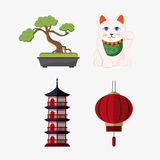 Japan culture and landmark design. Tower building cat bonsai and lamp icon. Japan culture landmark and asia theme. Colorful design. Vector illustration Stock Images