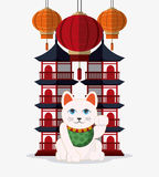Japan culture and landmark design. Tower building and cat icon. Japan culture landmark and asia theme. Colorful design. Vector illustration Royalty Free Stock Photo