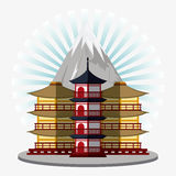 Japan culture and landmark design. Tower building icon. Japan culture landmark and asia theme. Colorful design. Striped background. Vector illustration Royalty Free Stock Images