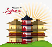 Japan culture and landmark design. Tower building icon. Japan culture landmark and asia theme. Colorful design. Striped background. Vector illustration Stock Images