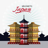 Japan culture and landmark design. Tower building icon. Japan culture landmark and asia theme. Colorful design. Vector illustration Royalty Free Stock Photography