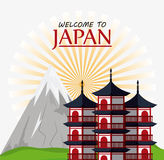 Japan culture and landmark design. Tower building and mountain icon. Japan culture landmark and asia theme. Colorful design. Vector illustration Royalty Free Stock Photography