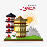 Japan culture and landmark design. Tower building mountain sun and cat icon. Japan culture landmark and asia theme. Colorful design. Vector illustration Stock Image