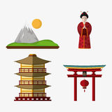 Japan culture and landmark design. Tower building mountain woman and arch icon. Japan culture landmark and asia theme. Colorful design. Vector illustration Stock Photos
