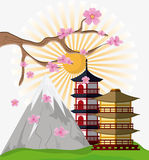 Japan culture and landmark design. Tower building with sun and mountain icon. Japan culture landmark and asia theme. Colorful design. Vector illustration Royalty Free Stock Photo