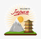 Japan culture and landmark design. Tower building with sun and mountain icon. Japan culture landmark and asia theme. Colorful design. Vector illustration Royalty Free Stock Images