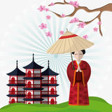 Japan culture and landmark design. Tower building and woman with umbrella icon. Japan culture landmark and asia theme. Colorful design. Striped background Royalty Free Stock Photography