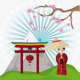 Japan culture and landmark design. Woman arch and lamp icon. Japan culture landmark and asia theme. Colorful design. Vector illustration Royalty Free Stock Photos