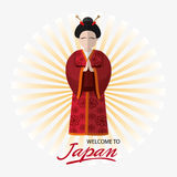 Japan culture and landmark design. Woman and striped background. Japan culture landmark and asia theme. Colorful design. Vector illustration Royalty Free Stock Photography