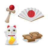 Japan Culture Object Isolate Set Vector. Japan Culture Object Isolate Set Stock Image