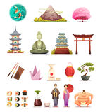 Japan Culture Retro Cartoon Icons Set. Japanese culture traditions cuisine retro cartoon icons collection with cherry blossom bonsai and sumo wrestler isolated Royalty Free Stock Photos