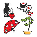Japan culture symbols for travel and famous landmarks vector icons set. Japan culture symbols for travel and Japanese famous landmarks. Vector icons of geisha Stock Photography