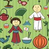 Japan culture vector seamless pattern Royalty Free Stock Photography