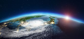 Japan cyclone. 3d rendering Stock Images