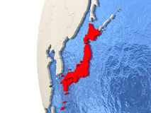 Japan on 3D globe Stock Images