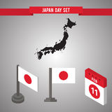 Japan Day Flat isometric 3d flag on a flagpole, map. Japan Day. Flat isometric 3d flag on a flagpole. tear-off calendar with the image of 11 February. See a map royalty free illustration