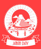 Japan Day red color. Calendar for each day on February 11. Greeting card. Holiday - Japan Day. Icon in the linear style stock illustration