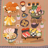Japan delicacy poster. Attractive Japan delicacy poster - Let's go to Japan in Japanese Stock Images