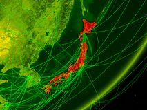 Japan on digital Earth royalty free illustration