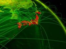 Japan on digital globe royalty free illustration