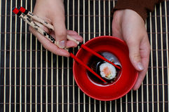 Japan dinner. Traditional japan dish, chopsticks and food Stock Photos