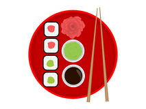 Japan dinner. Japan flag in form the plate with sushi royalty free illustration