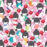 Japan doll rabbit not lonely seamless pattern Royalty Free Stock Photo