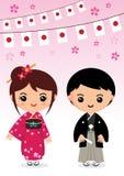 Japan doll. Japan traditional costume, kimono, Japanese cartoon vector illustration