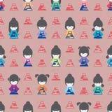 Japan doll wear Fuji grunge symmetry seamless pattern Royalty Free Stock Photo