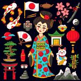 Japan doodle cartoon icons set vector illustration