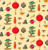 Japan doodle icons seamless vector pattern royalty free illustration